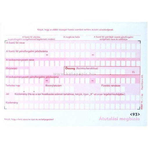 Átutalásos megbízás A/6 2pld kézi PFNY11, 500 db/csomag