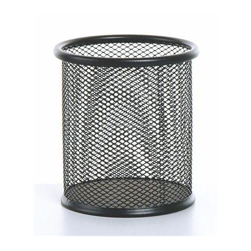 Írószertartó fémhálós fekete kerek, 10 cmx9 cm
