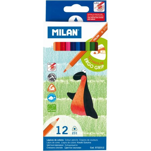 MILAN 231, 12 darabos színes ceruza, háromszögletű