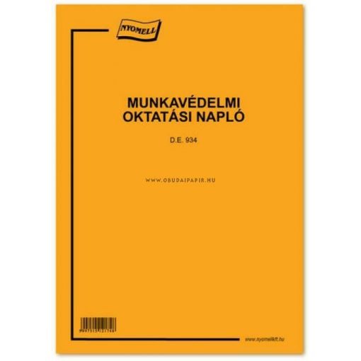 Munkavédelmi oktatási napló A/4, 48 oldal+borító, 1+1 szín D.E.934