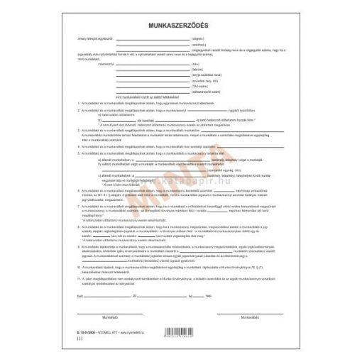 MUNKASZERZŐDÉS, 3 PÉLDÁNYOS 2 OLDALAS, A/4, 1+1 SZÍN, B.18-51/V/2012