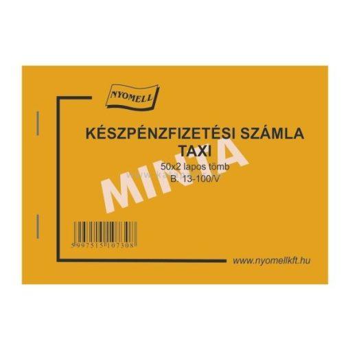 TAXIS SZÁMLA, 50X2 PÉLDÁNYOS, A/6, B.13-100/V