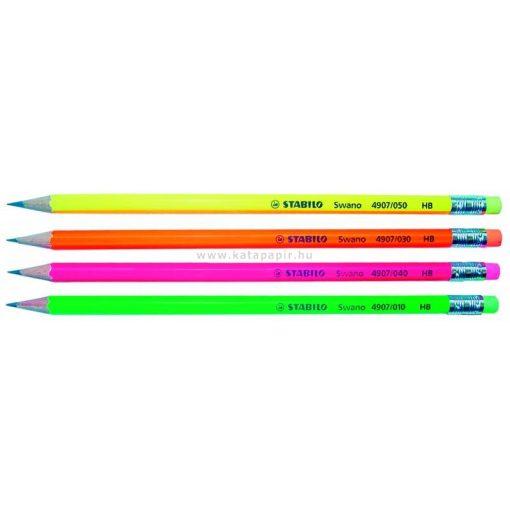STABILO grafit ceruza SWANO Neon HB, radíros, narancssárga